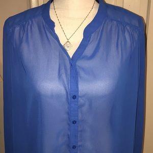 Elegant Blue Sheer Top by Worthington